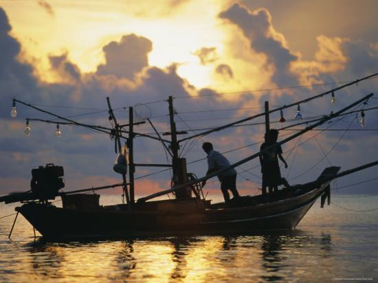 Fishing Boat at Sunrise at Haad Rin Beach, Koh Pha Ngan, Thailand-Robert Francis-Photographic Print