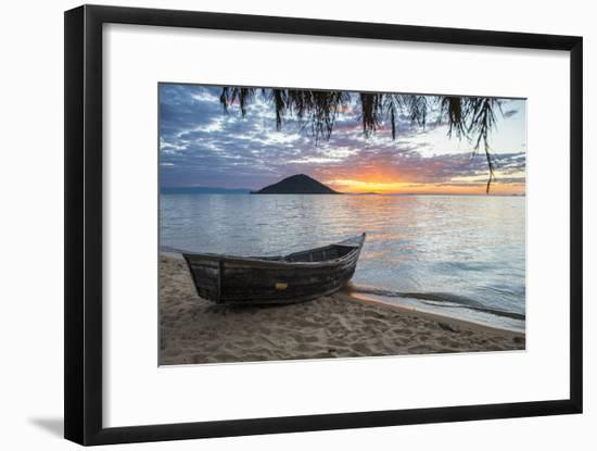 Fishing Boat at Sunset at Cape Malcear, Lake Malawi, Malawi, Africa-Michael Runkel-Framed Photographic Print
