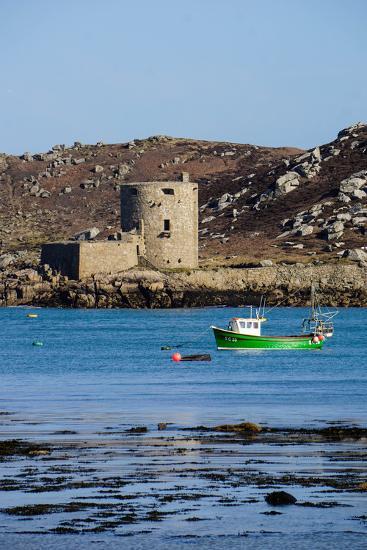 Fishing Boat, Cromwell's Castle on Tresco, Isles of Scilly, England, United Kingdom, Europe-Robert Harding-Photographic Print
