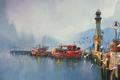 Fishing Boat in Harbor at Morning,Watercolor Painting Style-Tithi Luadthong-Art Print