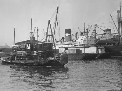 Fishing Boat in Harbour (B&W)-George Marks-Photographic Print