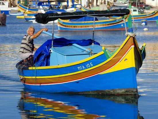 Fishing Boat in Marsaxlokk Harbour-Jean-pierre Lescourret-Photographic Print