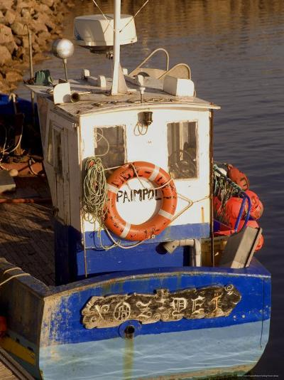 Fishing Boat in Port at Coastal Resort of Trebeurden, Cotes d'Armor, France-David Hughes-Photographic Print