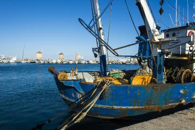 Fishing Boat in the Habour of the City of Rhodes, Rhodes, Dodecanese Islands, Greek Islands, Greece-Michael Runkel-Photographic Print