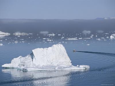 Fishing Boat Maneuvers Around Icebergs near the Ilulissat Glacier-Sisse Brimberg-Photographic Print