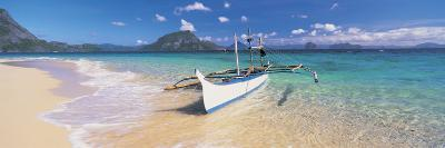 Fishing Boat Moored on the Beach, Palawan, Philippines--Photographic Print