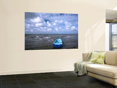 Fishing Boat on Caribbean Coast under Cloudy Sky-Paul Kennedy-Wall Mural