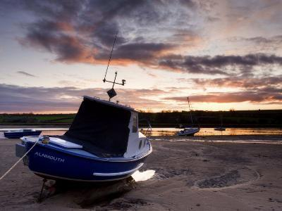 Fishing Boat on the Aln Estuary at Sunset, Alnmouth, Near Alnwick, Northumberland, England, United -Lee Frost-Photographic Print