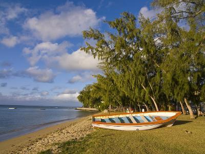 Fishing Boat on the Beach of Anse Aux Anglais in the Island of Rodrigues, Mauritius--Photographic Print