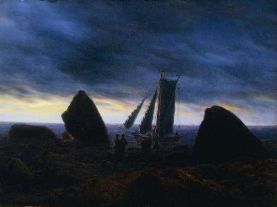 Fishing Boat Passing Figures on a beach by the Baltic-Caspar David Friedrich-Giclee Print