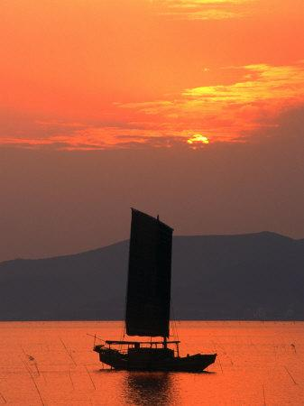 Fishing Boat Sailing Across Lake Taihu at Sunset, Wuxi, China-Keren Su-Photographic Print
