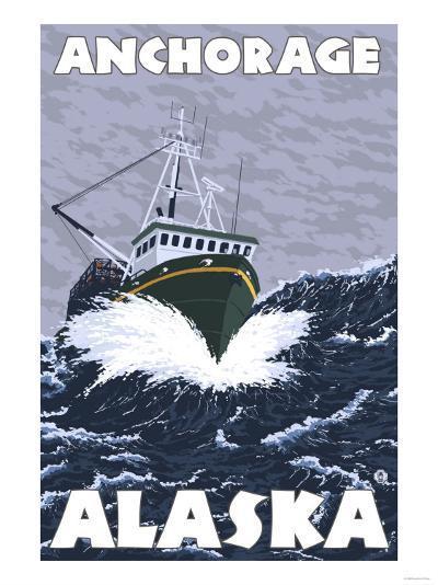 Fishing Boat Scene, Anchorage, Alaska-Lantern Press-Art Print