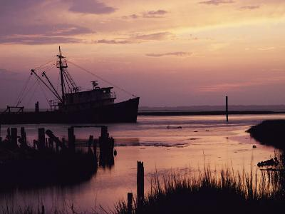 Fishing Boat Silhouetted at Twilight-Al Petteway-Photographic Print