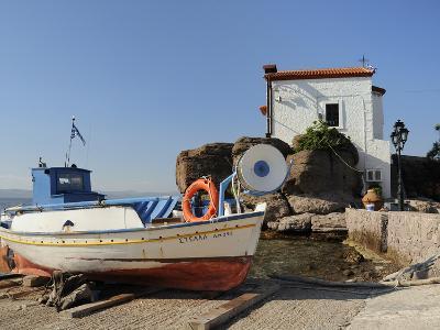 Fishing Boat Stella on Ramp Near Small Chapel at Skala Sikaminia, Lesbos (Lesvos), Greece-Nick Upton-Photographic Print