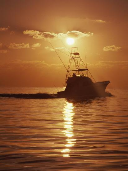 Fishing Boat with Sunset Sky--Photographic Print