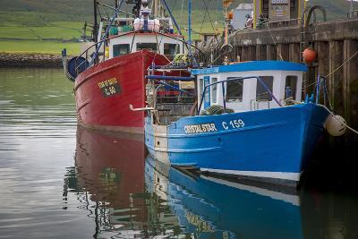 Fishing Boats Along the Pier in Dingle Harbor, Dingle, County Kerry, Republic of Ireland-Brian Jannsen-Photographic Print