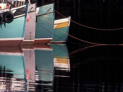Fishing Boats and Their Reflections in Water, North Head, Grand Manan Island, New Brunswick, Canada-Garry Black-Photographic Print