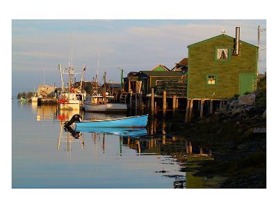 Fishing boats at dock--Art Print