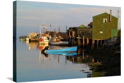 Fishing boats at dock--Stretched Canvas Print