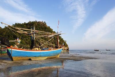 Fishing Boats at Sunset, Thailand-Christian Kober-Photographic Print