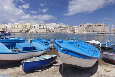Fishing Boats at the Port, Old Town with Castle, Gallipoli, Lecce Province, Salentine Peninsula-Markus Lange-Framed Photographic Print