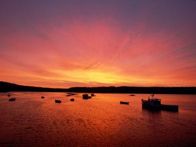 Fishing Boats Dot the Water at Twilight-James P^ Blair-Photographic Print