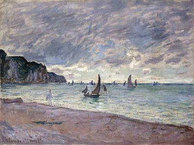 Fishing Boats in front of the Beach and Cliffs of Pourville-Claude Monet-Giclee Print