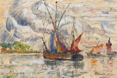 Fishing Boats in La Rochelle, C.1919-21 (Graphite, W/C and Opaque White)-Paul Signac-Giclee Print
