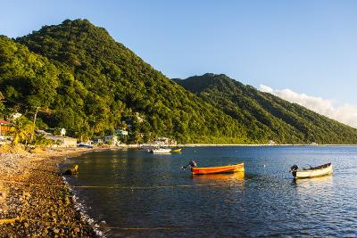 Fishing Boats in the Bay of Soufriere, Dominica, West Indies, Caribbean, Central America-Michael Runkel-Photographic Print