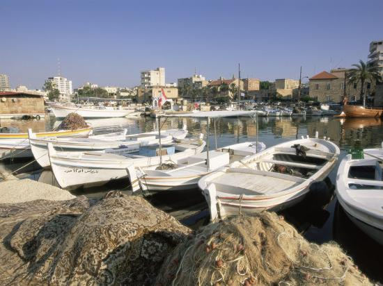 Fishing Boats in the Fishing Harbour, Tyre (Sour), the South, Lebanon, Middle East-Gavin Hellier-Photographic Print