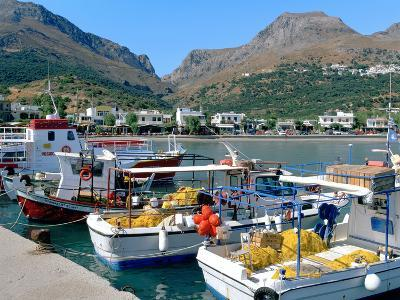 Fishing Boats in the Harbour, Plakias, Crete, Greece-Peter Thompson-Photographic Print