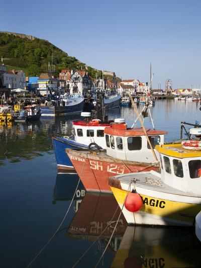 Fishing Boats in the Harbour, Scarborough, North Yorkshire, Yorkshire, England, UK, Europe-Mark Sunderland-Photographic Print
