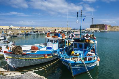 Fishing Boats in the Old Harbour of Heraklion, Crete, Greek Islands, Greece-Michael Runkel-Photographic Print