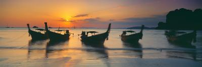 Fishing Boats in the Sea, Railay Beach, Krabi, Krabi Province, Thailand--Photographic Print