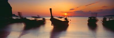 Fishing Boats in the Sea, Railay Beach, Krabi, Krabi Province, Thailand--Photographic Print