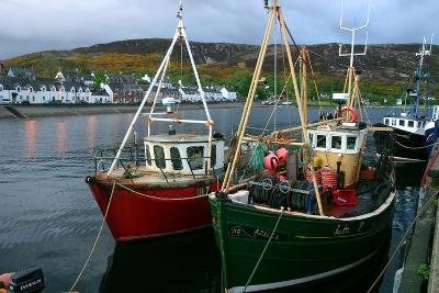 Fishing Boats in Ullapool Harbour at Night, Highland, Scotland-Peter Thompson-Photographic Print