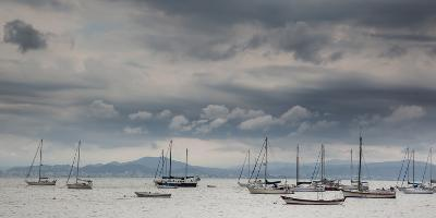 Fishing Boats Line Up Near the Coast of Florianopolis Island in Santa Catarina, Brazil-Alex Saberi-Photographic Print