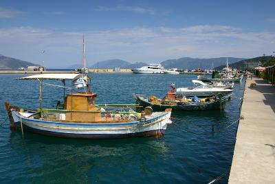 Fishing Boats Moored Alongside the Quay, Sami, Kefalonia, Greece-Peter Thompson-Photographic Print