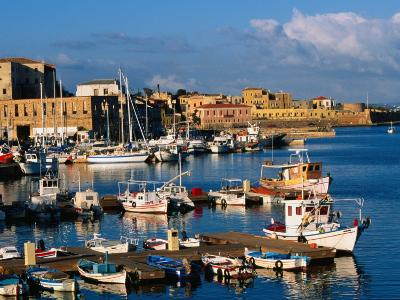 Fishing Boats Moored in Harbour,Hania, Crete, Greece-John Elk III-Photographic Print