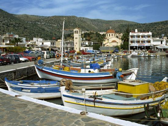 Fishing Boats Moored in the Harbour at Elounda, Near Agios Nikolas, Crete, Greece, Europe-Harding Robert-Photographic Print