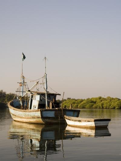 Fishing Boats on Backwater Near Mobor, Goa, India-R H Productions-Photographic Print