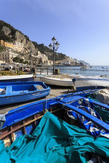 Fishing Boats on Shore, Amalfi Waterfront, Costiera Amalfitana (Amalfi Coast), Campania, Italy-Eleanor Scriven-Photographic Print