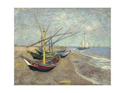 Fishing Boats on the Beach at Les Saintes-Maries-De-La-Mer-Vincent van Gogh-Giclee Print