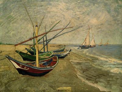 Fishing Boats on the Beach at Saintes-Marie-de-la-Mer, around June 5, 1888-Vincent van Gogh-Giclee Print