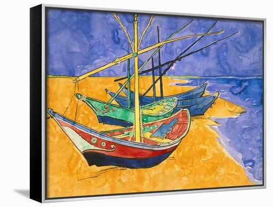 Fishing Boats on the Beach at Saintes-Maries-De-La-Mer-Vincent van Gogh-Framed Canvas Print