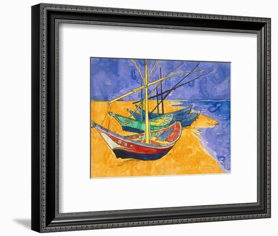 Fishing Boats on the Beach at Saintes-Maries-De-La-Mer-Vincent van Gogh-Framed Premium Giclee Print