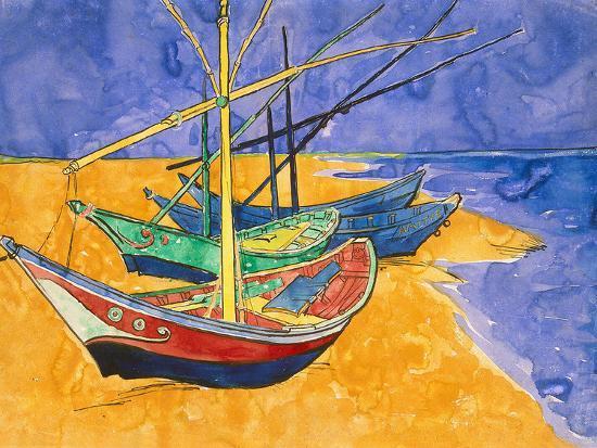 Fishing Boats On The Beach At Saintes Maries De La Mer Giclee Print By Vincent Van Gogh Art