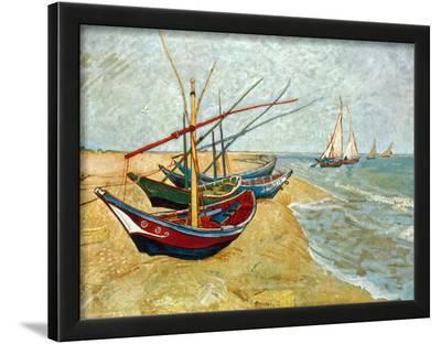 Fishing Boats on the Beach at Saints-Maries, c.1888-Vincent van Gogh-Lamina Framed Art Print