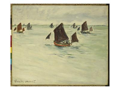 Fishing Boats on the Large De Pourville, 1882-Claude Monet-Giclee Print