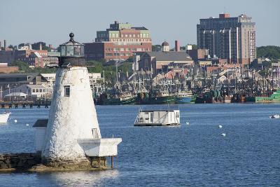 Fishing Boats, Palmer Island Lighthouse, New Bedford Harbor, Massachusetts, USA-Cindy Miller Hopkins-Photographic Print